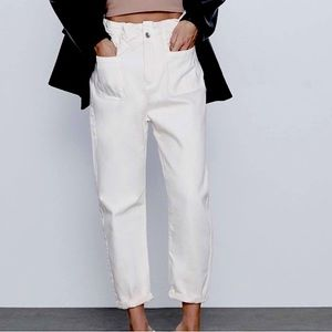 Zara Baggy Paperbag Waist 1975 Cream Ecru Jeans 6